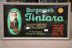 Framed  Australian Burgoyneand39s Tintara Burgundy Sign