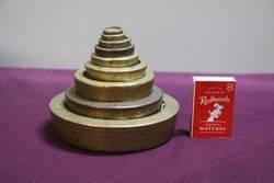 set Of 9 Antique Brass Weights